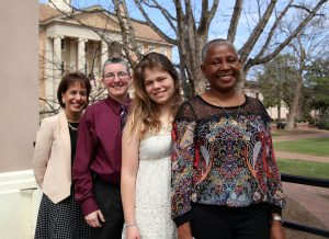 2015 UAAW Winners with Chancellor Folt. (From left: Carol Folt, Terri Phoenix, Maegen Clawges, Carmen Samuel-Hodge.)